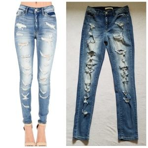KanCan distressed skinny jeans high rise 27